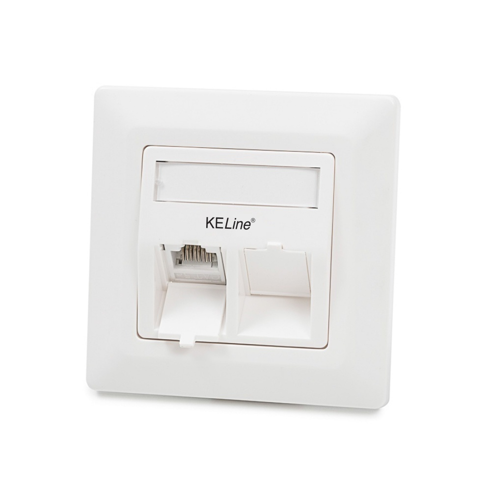 Modulo50 outlet, Category 6, 2xRJ45/u, flush-mounted, keystones included