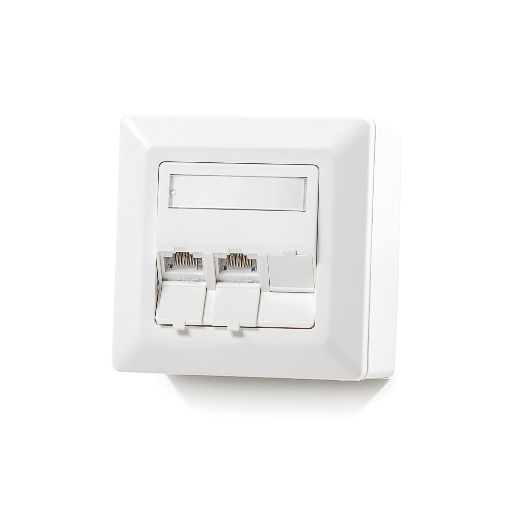 Modulo50 outlet, Category 6, 3xRJ45/u, wall-mounted, keystones included