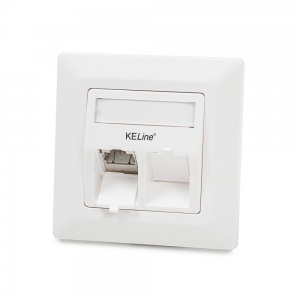 Modulo50 outlet, Category 6A, 2xRJ45/s, flush-mounted, keystones included