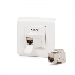 Modulo45 outlet, Category 6A, 2xRJ45/s, flush-mounted, KEJ-C6A-S-10G keystones included