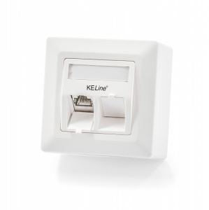 Modulo50 outlet, Category 6A, 2xRJ45/s, wall-mounted, keystones included
