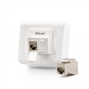 Modulo45 outlet, Category 6A, 2xRJ45/s, wall-mounted, KEJ-C6A-S-10 keystones included