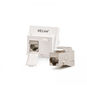 Modulo45 outlet, Category 6A, 2xRJ45/s, floor / duct-mounted, KEJ-C6A-S-10G keystones included