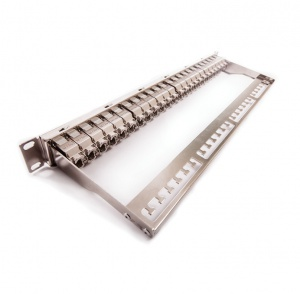 Patch panel, Category 6A, 24xRJ45/s, silver, KEJ-C6A-S-10G keystones included