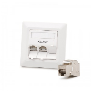 Modulo50 outlet, Category 6A , 3xRJ45/s, flush-mounted, KEJ-C6A-S-10G keystones included