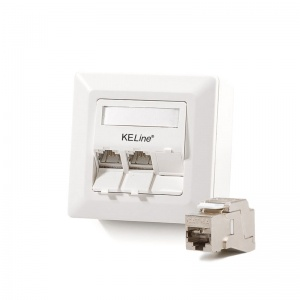 Modulo50 outlet, Category 6A , 3xRJ45/s, wall-mounted, KEJ-C6A-S-10G keystones included