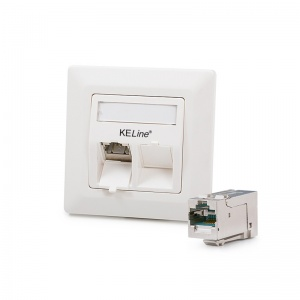 Modulo50 outlet, Category 6A, 2xRJ45/s, flush-mounted, KEJ-C6A-S-HD keystones included