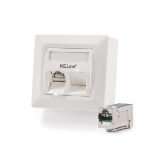Modulo50 outlet, Category 6A, 2xRJ45/s, wall-mounted, KEJ-C6A-S-HD keystones included