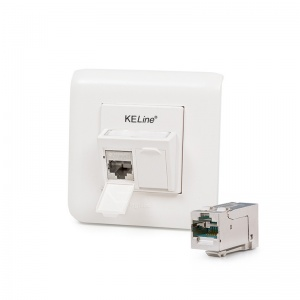Modulo45 outlet, Category 6A, 2xRJ45/s, flush-mounted, KEJ-C6A-S-HD keystones included