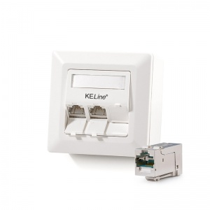 Modulo50 outlet, Category 6A , 3xRJ45/s, wall-mounted, KEJ-C6A-S-HD keystones included