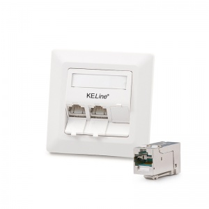 Modulo50 outlet, Category 6A , 3xRJ45/s, flush-mounted, KEJ-C6A-S-HD keystones included