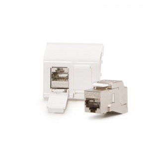 Legrand® MosaicTM compatible outlet module Category 6A, 2xRJ45/s, KEJ-C6A-S-10G keystones included
