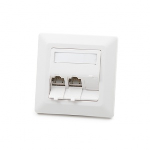 Modulo50 outlet, Category 6A, 3xRJ45/s, flush-mounted, keystones included