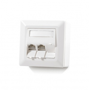 Modulo50 outlet, Category 6A, 3xRJ45/s, wall-mounted, keystones included