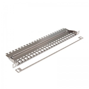 Patch panel HD for 24xRJ45, silver, empty 0,5U