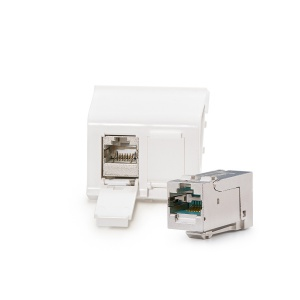 Legrand® MosaicTM compatible outlet module Category 6A, 2xRJ45/s, KEJ-C6A-S-HD keystones included