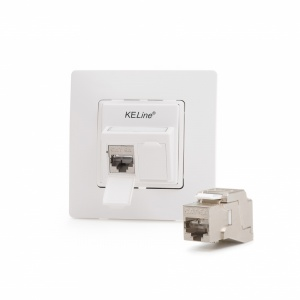 Legrand® NiloeTM compatible outlet module, Category 6A, 2xRJ45/s, KEJ-C6A-S-10G keystones included