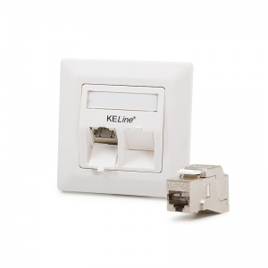 Modulo50 outlet, Category 6A, 2xRJ45/s, flush-mounted, KEJ-C6A-S-10G keystones included