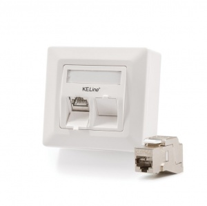 Modulo50 outlet, Category 6A, 2xRJ45/s, wall-mounted, KEJ-C6A-S-10G keystones included